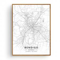 Bendigo - Bykart med GPS Koordinater - Hvit Lerret