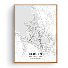 Bergen - Bykart med GPS Koordinater - Hvit Lerret