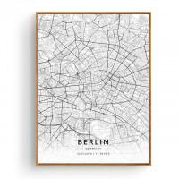 Berlin - Bykart med GPS Koordinater - Hvit Lerret