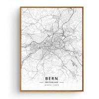 Bern - Bykart med GPS Koordinater - Hvit Lerret
