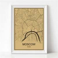 Moscow - Moskva - Retro Bykart - Brun Rektangel