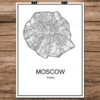 Moscow - Moskva - Minimalist Bykart - Hvit