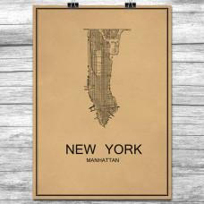 New York - Manhattan - Retro Bykart - Brun (Ver 2)