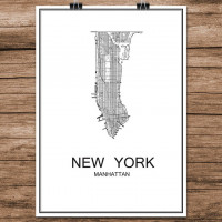 New York - Manhattan - Minimalist Bykart - Hvit (Ver 2)