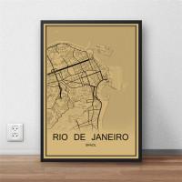 Rio De Janeiro - Retro Bykart - Brun Rektangel