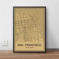 San Francisco - Retro Bykart - Brun Rektangel