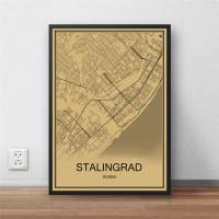 Stalingrad - Volgograd - Retro Bykart - Brun Rektangel