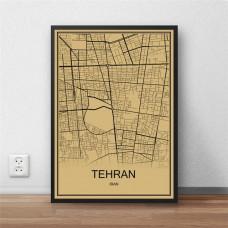 Tehran - Teheran - Retro Bykart - Brun Rektangel