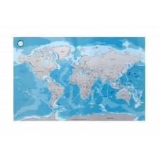 Verdenskart - Skrapekart - Blått med Sølvfarge